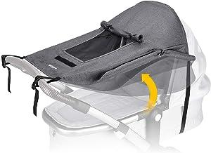BON&BENE Kinderwagen Sonnensegel anthrazit - Sichtfenster und extra breite Schattenflügel - Sonnenschutz für Kinderwagen - UV Schutz für Buggy