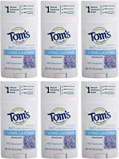 Tom's of Maine Long Lasting Deodorant, Deodorant for Women, Natural Deodorant, Wild Lavender, 2.25 Ounce, Pack of 6
