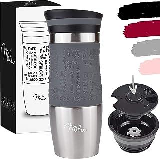 Milu Termomugg isolerad kopp kaffe- och temugg att gå – 370 ml, 450 ml 100 % läckagesäker – rostfritt stål dryckesmugg – v...