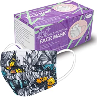 BUPMUM Printed Disposable Face Masks,Adult Unisex Fashion Face Mask, 6 Color Flowers Butterfly Mask 50PCS