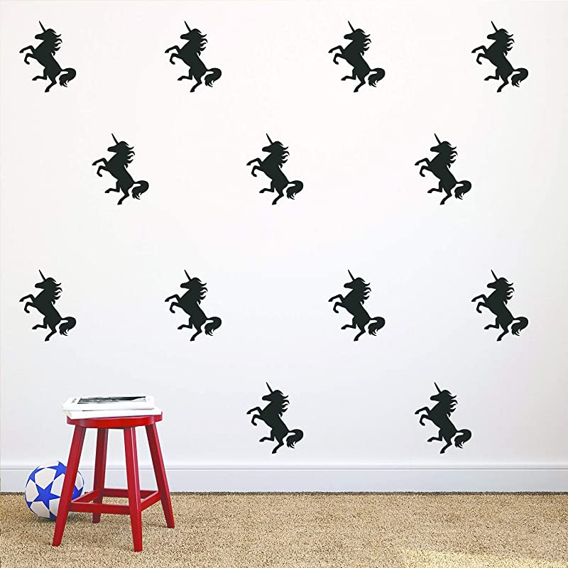 Unicorn Wall Stickers 20Pcs Wall Art Decals Home Decor Girls Sticker For Home Living Room Kids Room Nursery Bedroom Decor 2 7 X 3 9 Inch Each Black