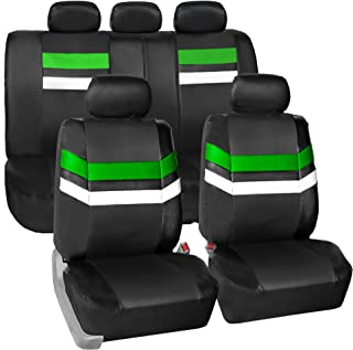 FH Group Leather Full Set Seat Covers Green Airbag Safe PU006GREEN115 & Split Bench Ready
