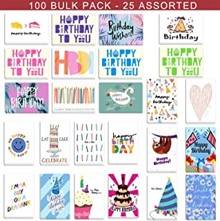 $20 » 100 Birthday Cards Bulk 25 Assorted Happy Birthday Cards, Birthday Greeting Cards Box Set with Envelopes and Seals, 4 x 6 inches Blank on the Inside