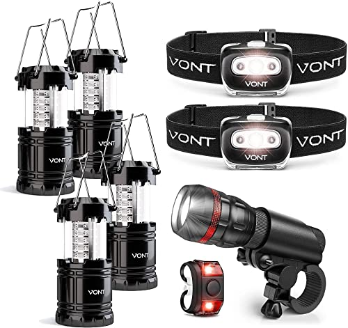 discount Vont 2-Pack Spark Headlamp + 4-Pack Lantern + 1Pc Bike Light Bundle - Premium Lighting for Outdoor Activities online - outlet sale Biking, Camping, Hunting, Hiking - For Emergencies, Outages in Storms, Hurricanes outlet sale