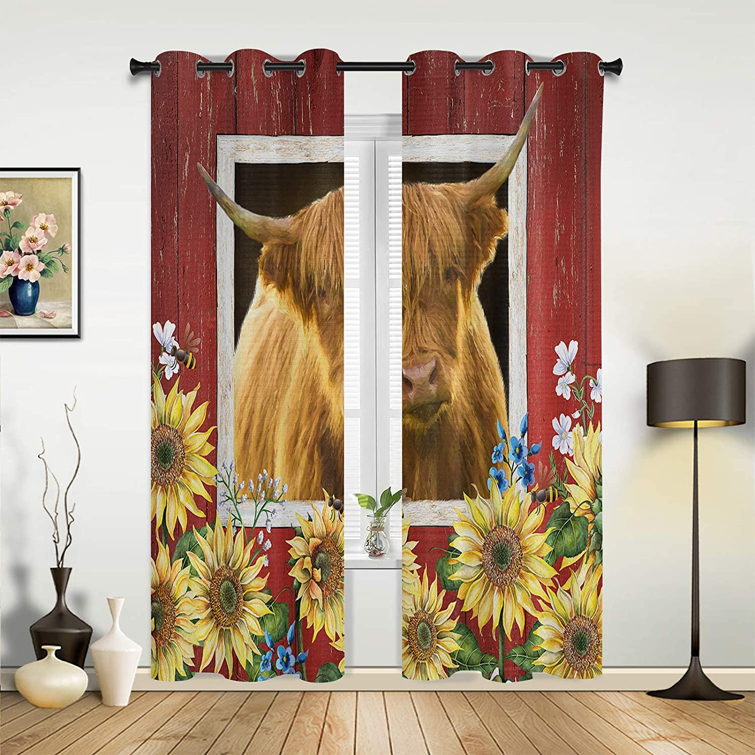 Window Max 40% OFF Curtains Drapes Panels Farm Sunflower Highland Cattle and shop