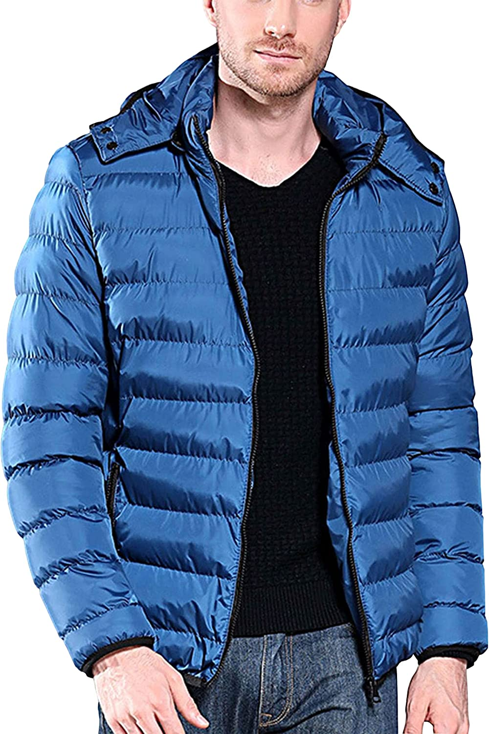 HangNiFang Men's Quilted Padding Puffer Lightweight Packable Hooded Jacket Coat