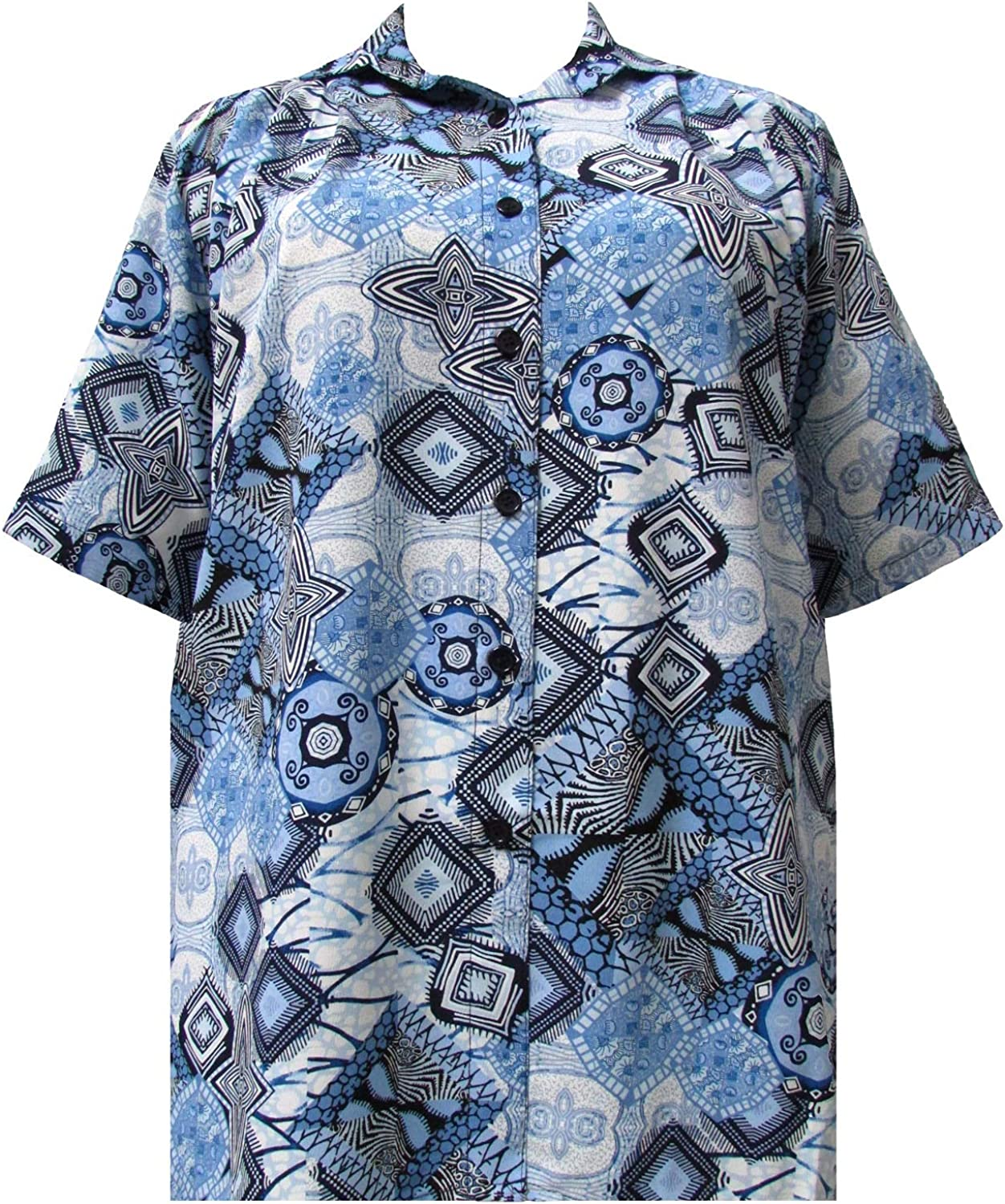 A Personal Touch Women's Plus Size Short Sleeve Button-Front Tunic