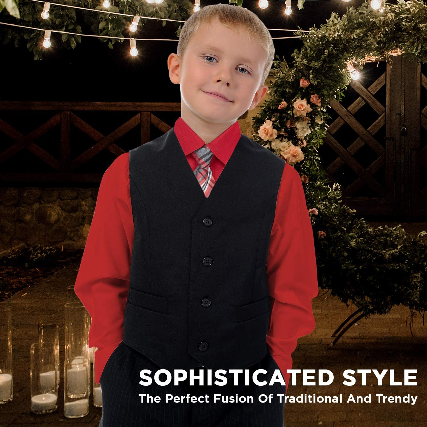 Alberto Danelli Boys Dress Shirt with Matching Tie and Handkerchief, Long Sleeve Button Down, Pocket