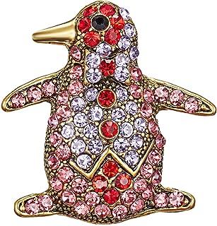 Gyn&Joy Golden Tone Pink Or Blue Colored Rhinestones Penguin Bird Brooch Pin BZ296
