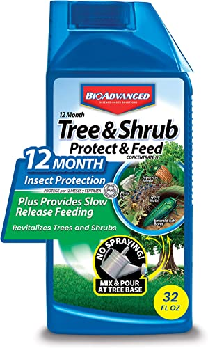 BioAdvanced 701810A Systemic Plant Fertilizer and Insecticide with Imidacloprid 12 Month Tree & Shrub Protect & Feed,...