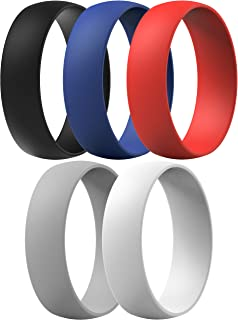ThunderFit Silicone Rings, 7 Rings / 1 Ring Wedding Bands for Men & Women 6mm Wide - 1.65mm Thick