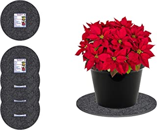 """Curtis Wagner Plastics Fabric & Cork Plant Mat (6"""" Diameter, Charcoal Gray, 5-Pack) - Round Thick Water Absorbent Cork Plant Coasters - Use as Planter, Coaster or Pads for Your Arts & Crafts"""