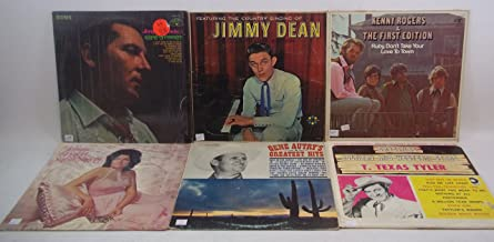 Classic Country Lot of 6 Vinyl Record Albums Gene Autry, T. Texas Tyler, Jeanne Pruett, Kenny Rogers & The First Edition, Jimmy Dean, Jerry Lee Lewis
