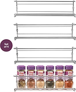 Spice Rack Wall Mount, Pantry Cabinet Door Organizer by Mindspace - Set of 4 Hanging Spice & Seasoning Racks Kitchen Storage Organizer| The Wire Collection, Chrome