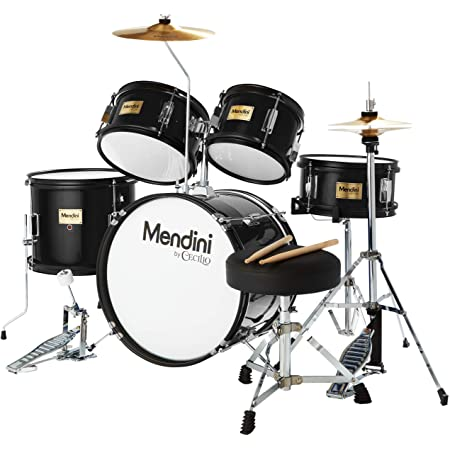 Mendini By Cecilio Kids Drum Set - Starter Drums Kit with Bass, Toms, Snare, Cymbal, Hi-Hat, Drumsticks & Seat - Musical Instruments Beginner Sets