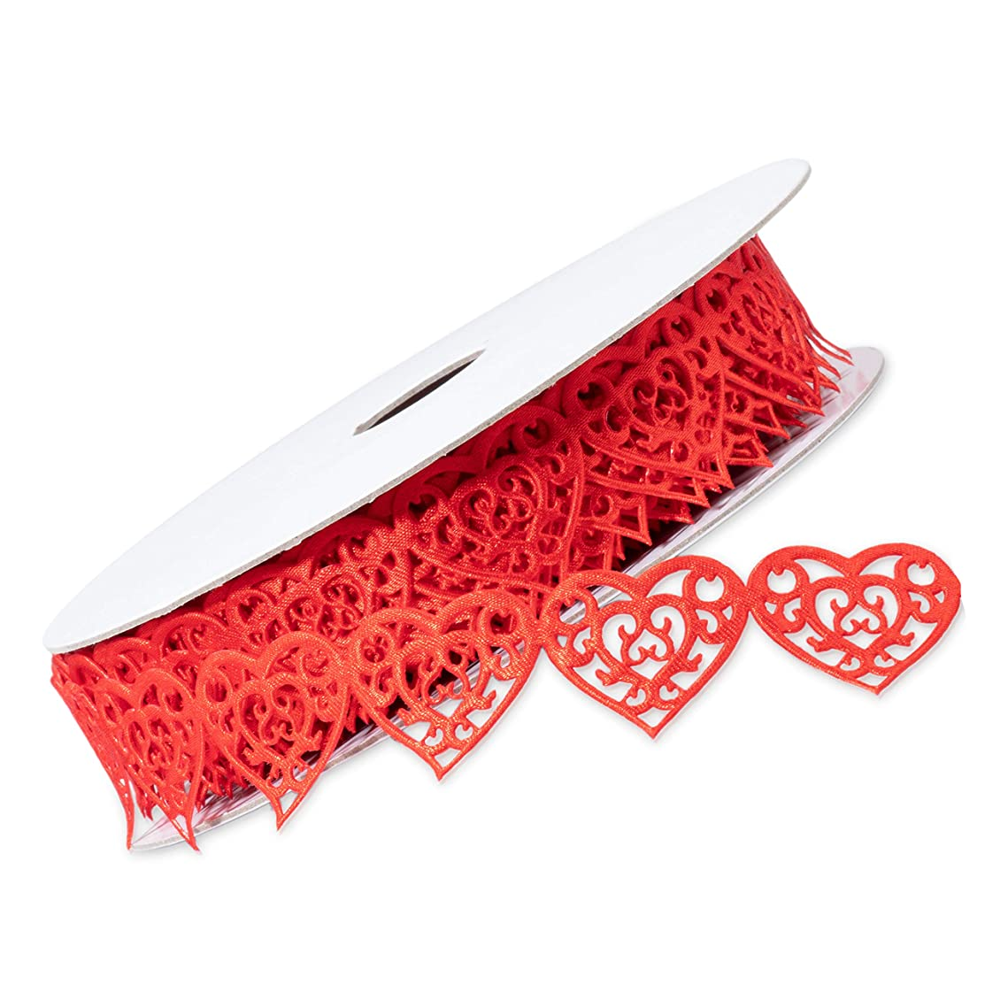 Juvale Decorative Romantic Heart Shaped Lace Red Trim Ribbon for Valentines Day, DIY Crafts, Sewing, 15 Yards x 1 Inch