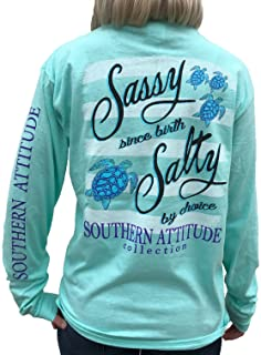 Southern Attitude Salty by Choice Sea Turtles Sea Foam Green Long Sleeve Women`s Shirt