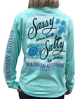 Southern Attitude Salty by Choice Sea Turtles Sea Foam Green Long Sleeve Women's Shirt