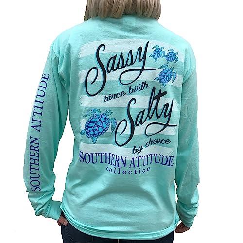 641bb19ccf Southern Attitude Salty by Choice Sea Turtles Sea Foam Green Long Sleeve  Women s Shirt