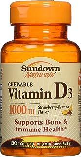 Sundown Naturals, Vitamin D3, Strawberry-Banana Flavor, 25 mg (1,000 IU), 120 ChewableTablets