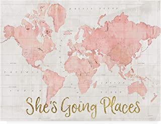 Trademark Fine Art Across The World Shes Going Places Pink by Sue Schlabach, 14x19
