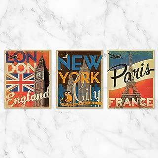 Travel Poster Wall Art - Set of 3-8x10 Prints on Linen Paper - Unframed