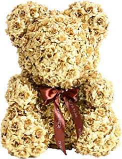 Queen Rose Bear Teddy Bear Cub Forever Artificial Rose Anniversary Valentines Gift 40cm (Gold)