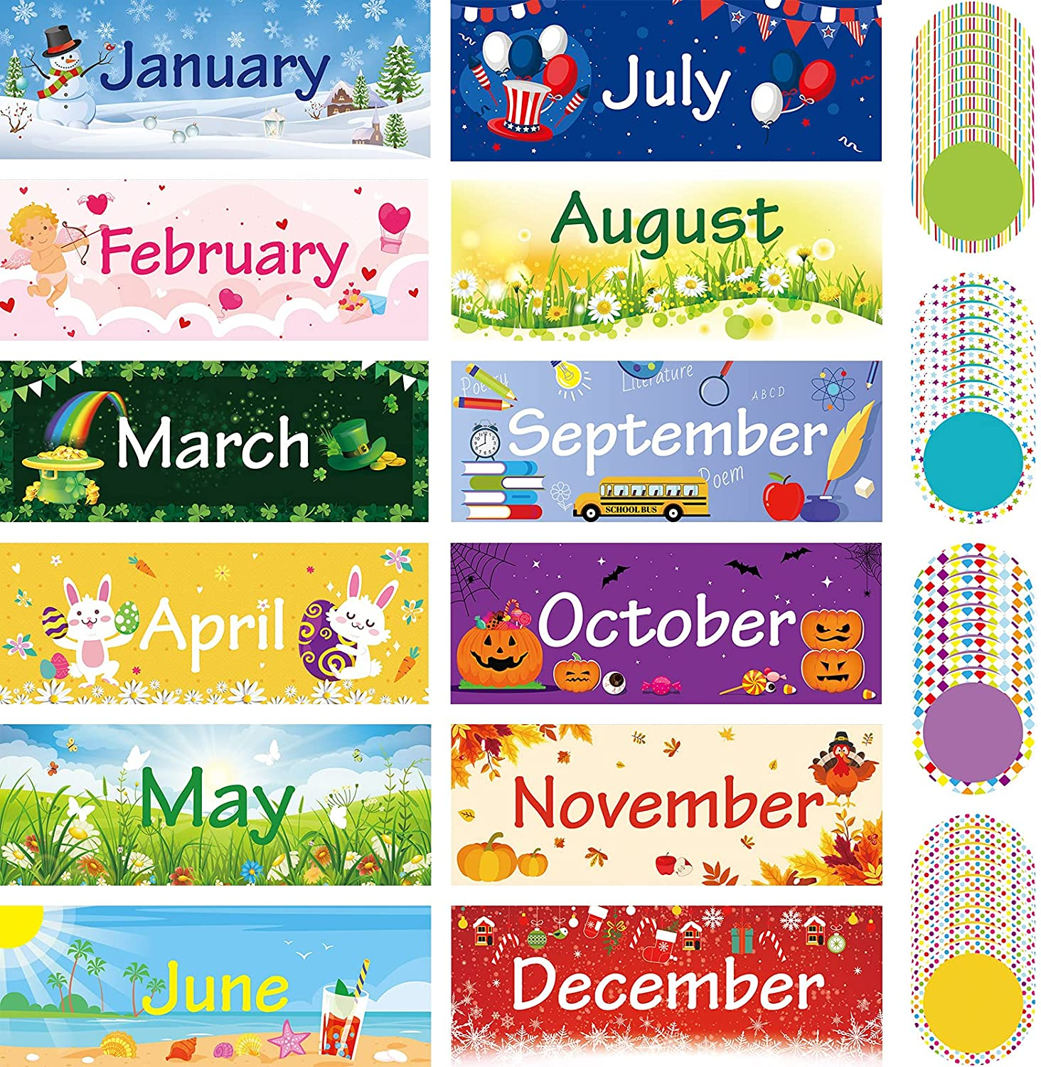 48 Pieces Holiday Monthly 2021 new Headliners Set of The 12 H Months Year Import
