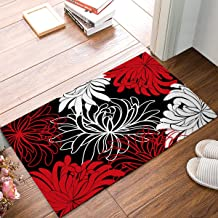 DaringOne Daisy Floral Printed,Red Black and White Non-Slip Machine Washable Bathroom Kitchen Decor Rug Mat Welcome Doorma...