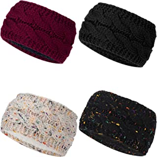 Pangda 4 Pieces Cable Knit Headband Crochet Headbands Plain Braided Head Wrap Winter Ear Warmer for Women Girls, 4 Colors