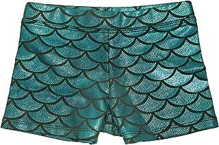 Gymnastics Shorts for Girls - Mermaid Dance Shorts Fish Scale Shorts