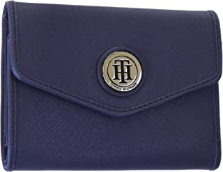 a6ce55a012e Tommy Hilfiger Women's Monogram Signature Envelope Clutch Saffiano Leather  Wallet - Blue