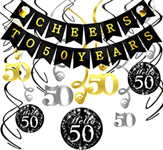50th Birthday Decorations Kit- Konsait Cheers to 50 Years Banner Swallowtail Bunting Garland Sparkling Celebration 50 Hanging Swirls,Perfect 50 Years Old Party Supplies 50th Anniversary Decorations