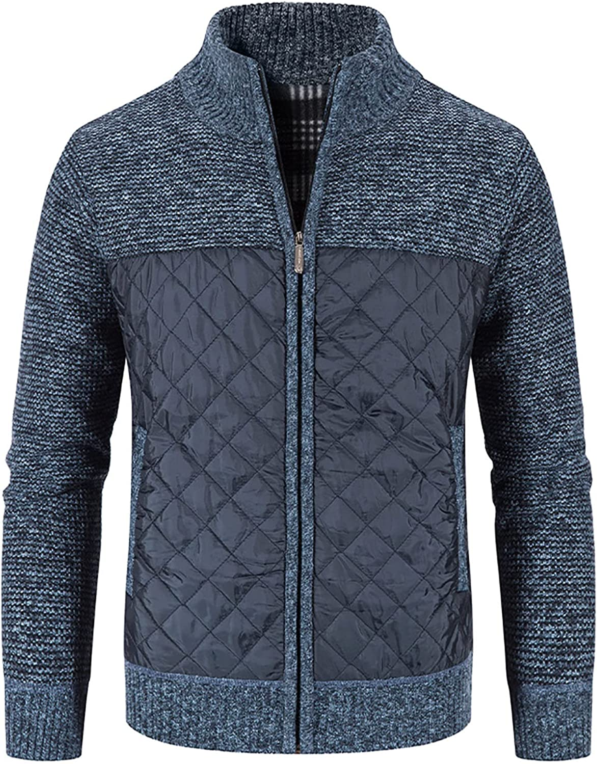 Bravetoshop Men's Casual Cardigan Sweaters Full Zip Stand Collar Slim Fit Knitted Sweater Outerwear with Pockets