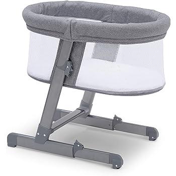 Simmons Kids Oval City Sleeper Bedside Bassinet - Adjustable Height Portable Crib with Wheels & Airflow Mesh, Grey Tweed