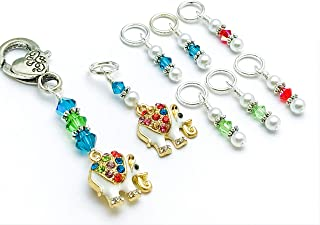 Sparkling Elephant Knitting Stitch Markers with Holder Clip