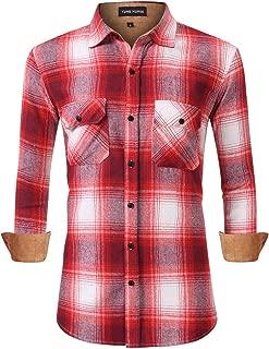 Men's Plaid Dress Shirts Flannel Shirts Long Sleeve Button Down Shirt