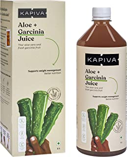Kapiva 100% Organic Aloe Vera (USDA) + Garcinia Juice - No Added Sugar, 1 L