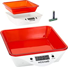 WeighAid Precision 5kg Food Scales Digital Weight Grams and Oz for the Kitchen, Hobby or Jewelry, Red Removable Tray, Accu...