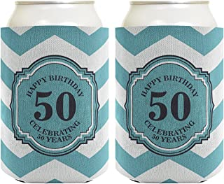 50th Birthday Gifts For All Beer Coolie Celebrating 50 Years Chevron 2 Pack Can Coolie Drink Coolers Coolies Premium Full Color