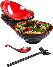 Annie's Kitchen 16 PC Restaurant Quality 33oz. Large Melamine Ramen Bowls and Spoons Set Complete Dinnerware Set with Chop...