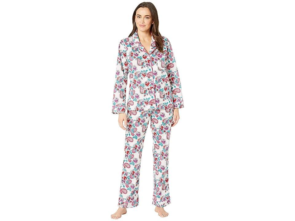 BedHead Pajamas Long Sleeve Classic Notch Collar Pajama Set (Eastern Roses/White Ground) Women