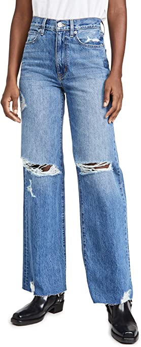 SLVRLAKE Women's Grace High Rise Wide Leg Jeans
