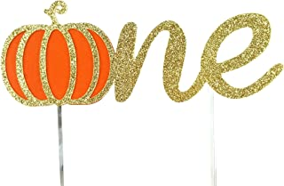 CMS Design Studio Handmade 1st First Birthday Cake Topper Decoration - one with Pumpkin - Made in USA with Double Sided Go...