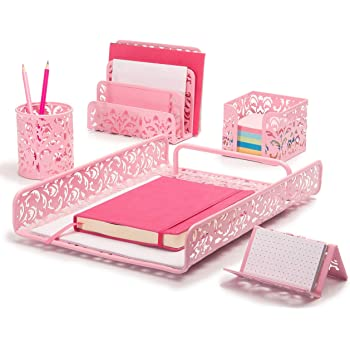 Hudstill Pink Cute Desk Organizer Set for Women and Girls in Damask Design with 5 Office Supplies Accessories : File Tray, Mail Organizer, Pen Cup, Sticky Notes Holder and Business Card Holder