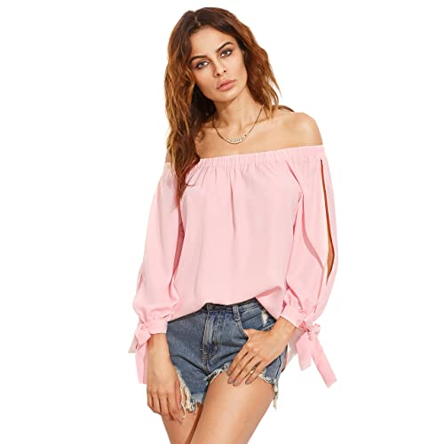 c1adb32470 SheIn Women's Off Shoulder Slit Sleeve Tie Cuff Blouse Top