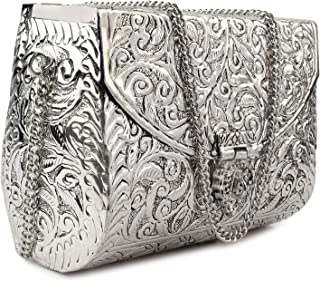 silver Handmade Bridal Women's Antique Brass Purse Ethnic Metal Clutch Bag