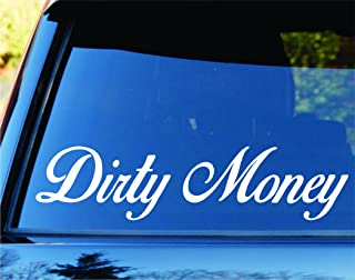 Dabbledown Decals Small Version Dirty Money Car Truck Window Windshield Lettering Decal Sticker Decals Stickers JDM Drift Dub Vw Lowered Jdm Fresh Detailed Stance Fitment 4x4