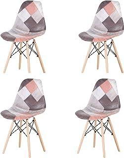 KJB Lot de 4 chaises de salle à manger en tissu patchwork et lin avec pieds en bois massif et support en métal pour meuble...
