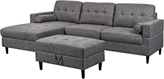 Vita Upholstered Chaise Sectional Sofa Set with Storage Ottoman, 2-Piece 3-Seater, Charcoal Tweed